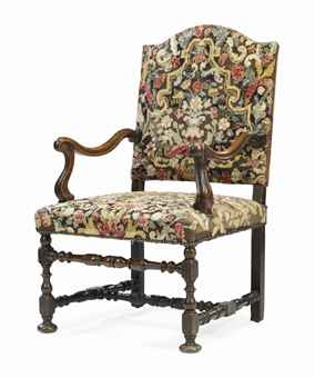 A LOUIS XIV WALNUT OPEN ARMCHAIR