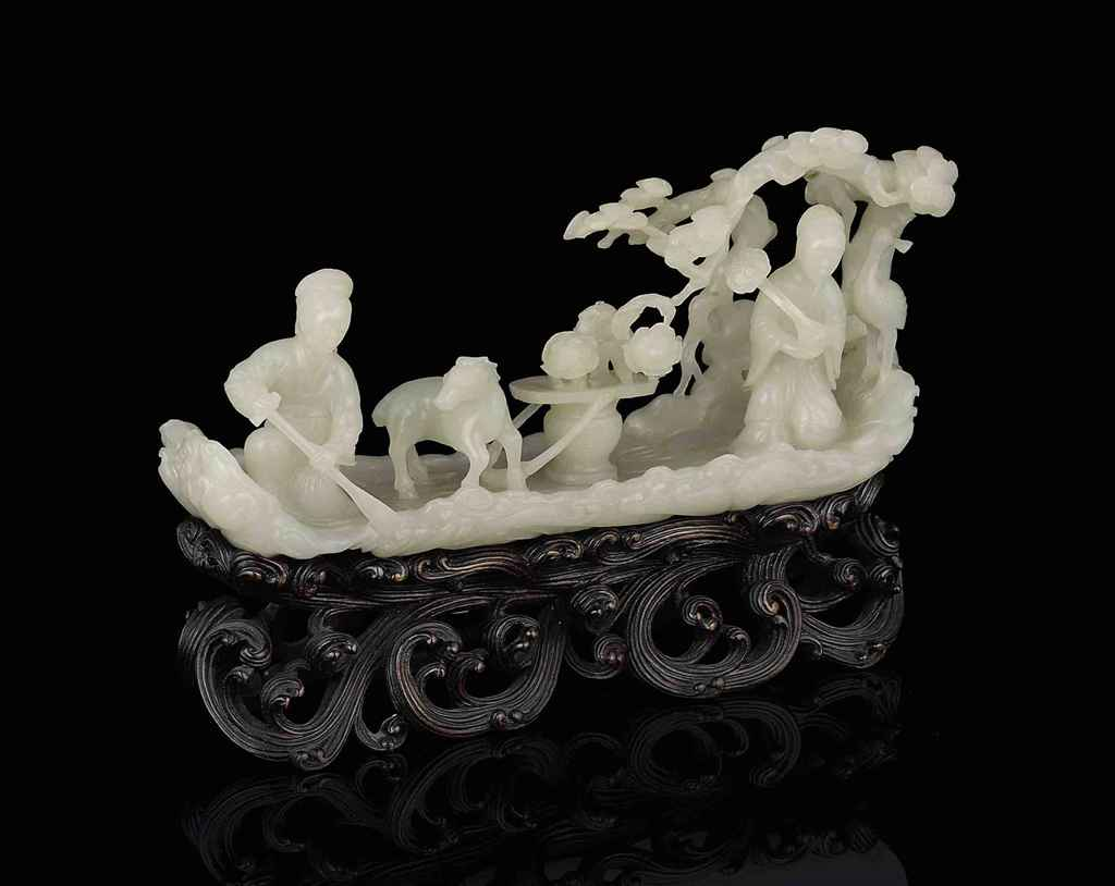 A SUPERB AND VERY RARE PALE GREENISH-WHITE JADE RAFT GROUP ...
