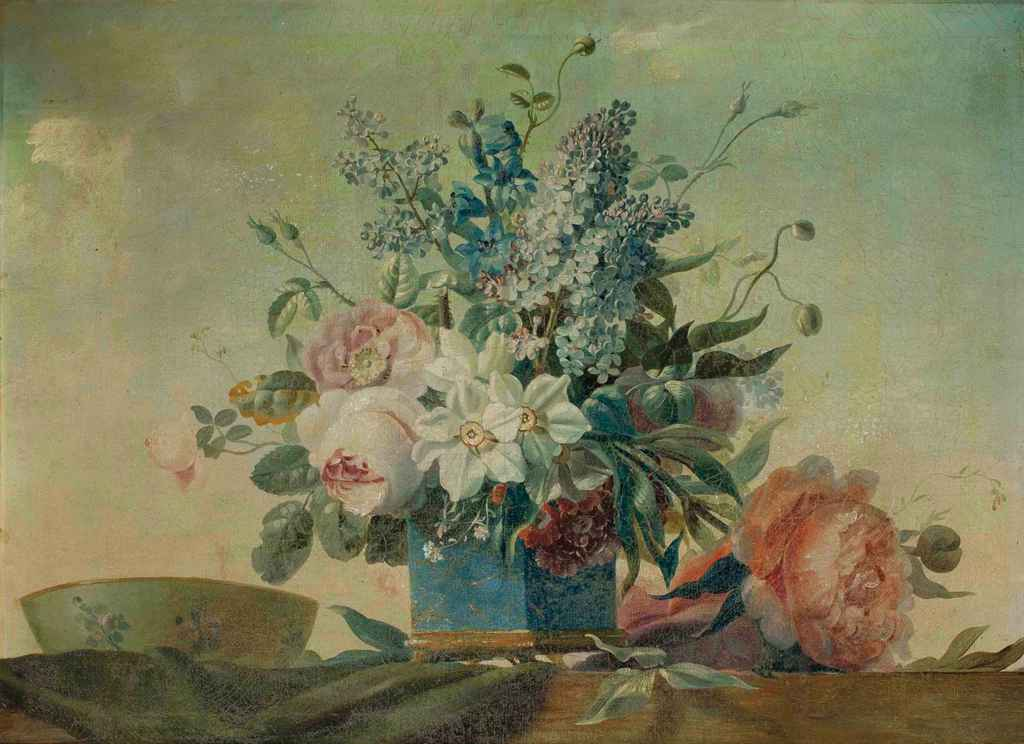 suiveur de anne vallayer coster fleurs dans un vase en porcelaine bleue christie 39 s. Black Bedroom Furniture Sets. Home Design Ideas
