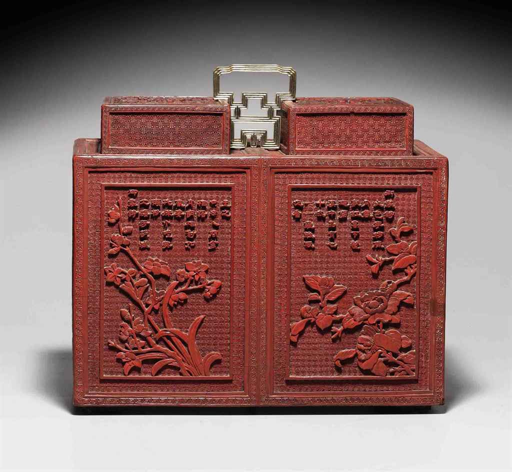 A VERY RARE IMPERIAL CARVED RED LACQUER CABINET