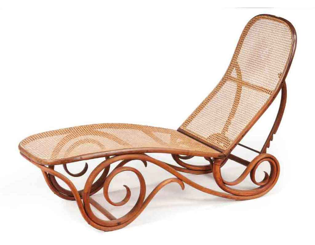 An austrian bentwood and caned chaise longue 39 model 9702 for Chaise thonet