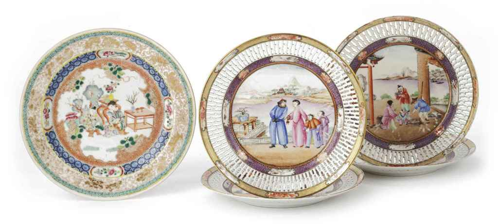 A set of four Chinese famille rose 'mandarin pattern' plates...