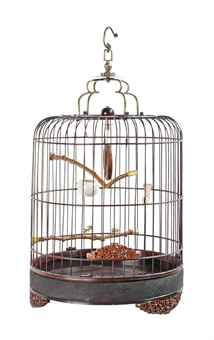 A CHINESE LACQUERED WOOD BIRDCAGE
