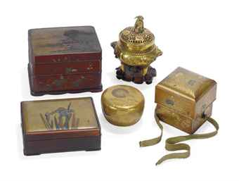 FOUR JAPANESE LACQUER BOXES AND A BRONZE CENSER