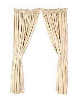 TWO PAIRS OF TAUPE SATIN STRIPED TAFFETA CURTAINS