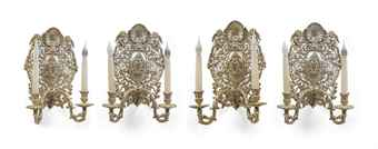 FOUR WILLIAM & MARY STYLE SILVER-PLATED TWO BRANCH WALL LIGHTS