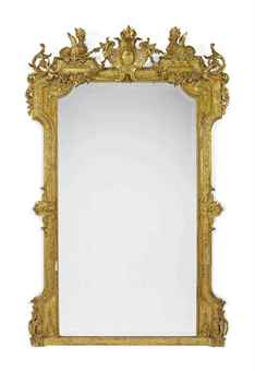 A FRENCH GILT GESSO OVERMANTEL MIRROR