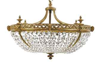 A GLASS AND ORMOLU CHANDELIER