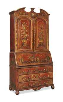 A SOUTH EUROPEAN RED JAPANNED BUREAU BOOKCASE