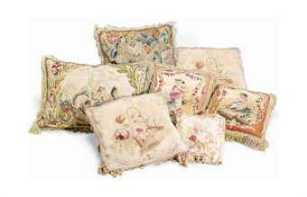SEVEN FRENCH AUBUSSON TAPESTRY CUSHIONS