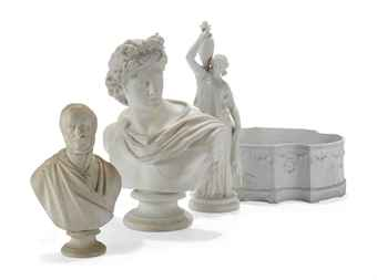 TWO ENGLISH PARIAN BUSTS, A FIGURE OF A WATER-CARRIER AND A BISCUIT PORCELAIN CACHE-POT