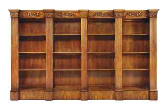 A LARGE WALNUT BREAK-FRONT OPEN BOOKCASE