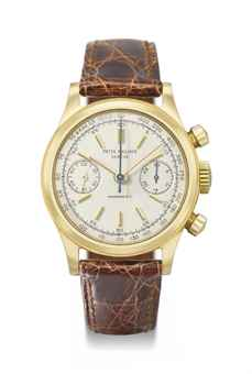 Patek Philippe. A very fine and rare 18K gold chronograph wristwatch with original certificate
