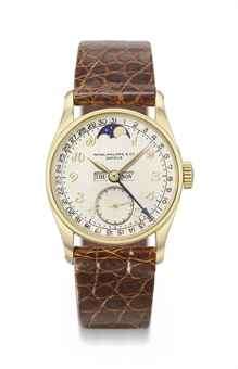 Patek Philippe. A probably unique and historically important 18K gold full calendar wristwatch with moon phases and Breguet numerals