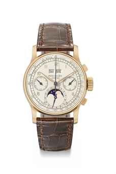 Patek Philippe. An exceptionally fine and rare 18K pink gold perpetual calendar chronograph wristwatch with moon phases