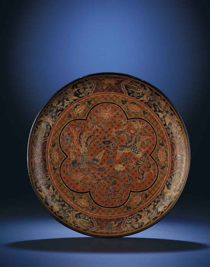 AN EXTREMELY RARE LARGE IMPERIAL MING QIANGJIN AND TIANQI 'P...