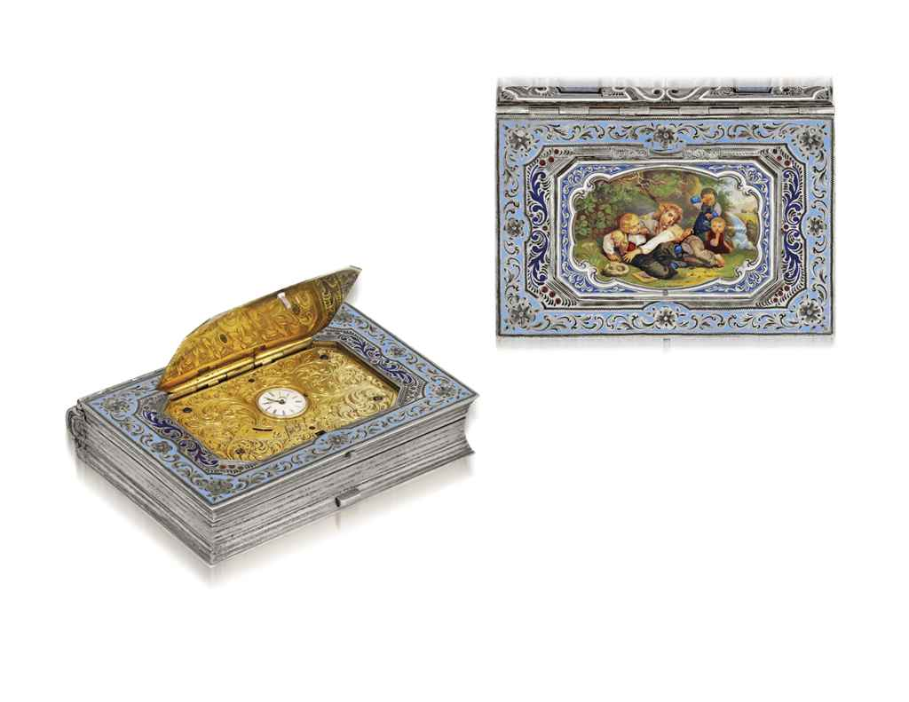 SWISS A FINE AND RARE SILVER GILT AND ENAMEL BOOK-FORM BOX W...