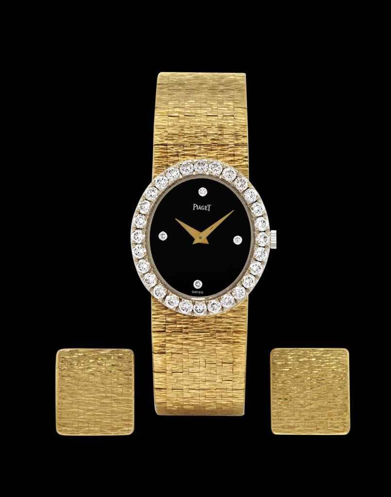 PIAGET A LADY'S 18K GOLD AND DIAMOND-SET OVAL WRISTWATCH WIT...