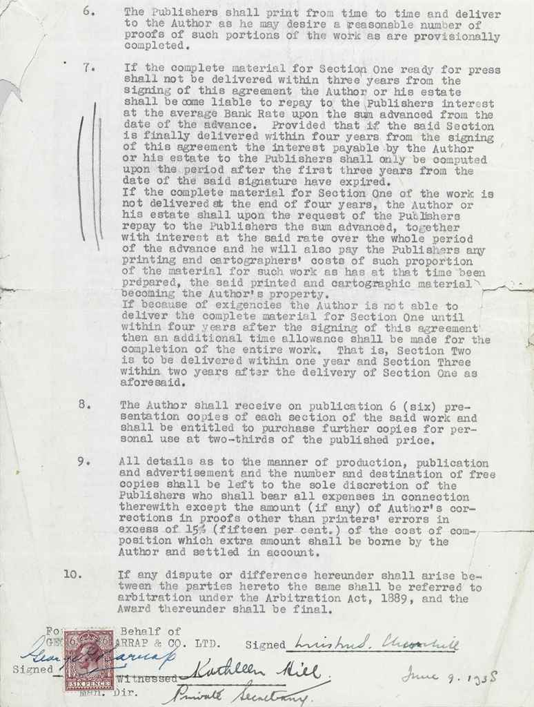 CHURCHILL, Winston S Document signed (
