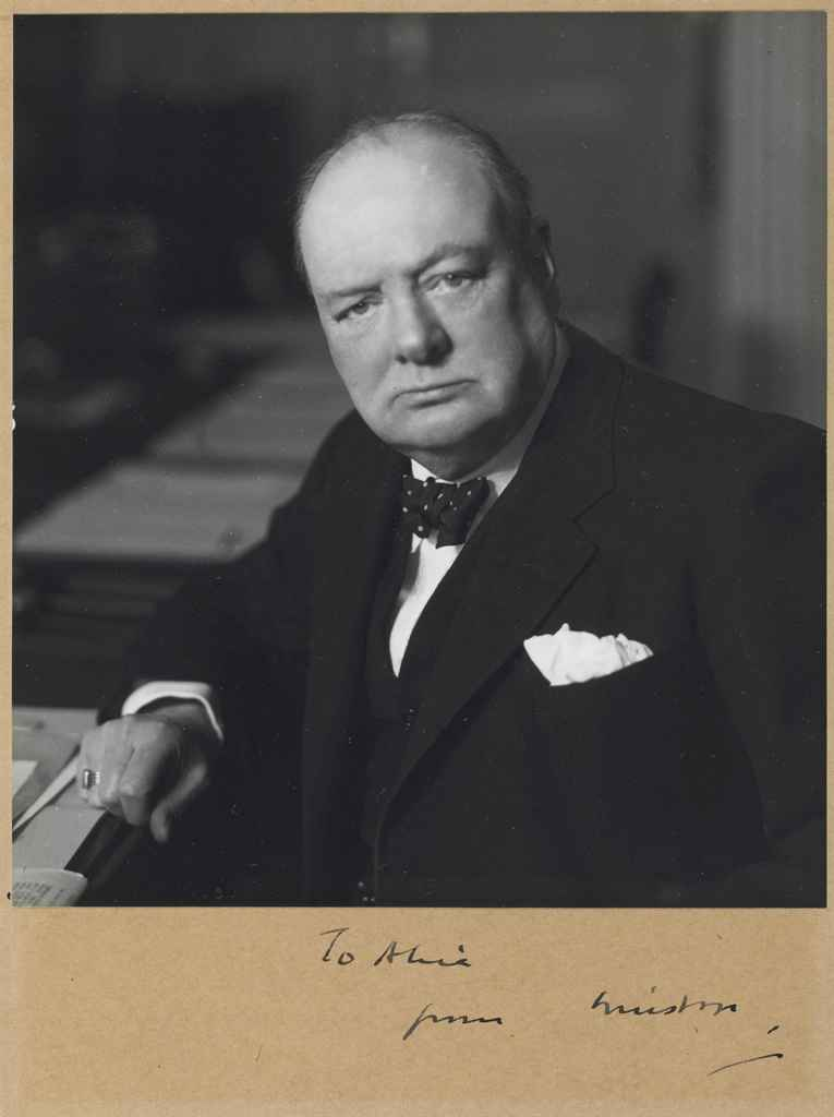 CHURCHILL, Winston S Photograph signed and inscribed