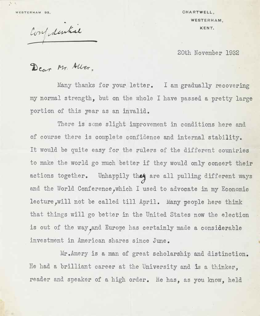CHURCHILL, Winston S Two typed letters both signed (