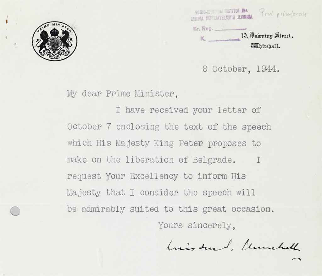 CHURCHILL, Winston S Typed letter signed (