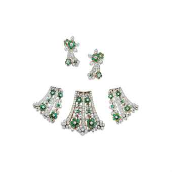 Lotfinder Jewelry A Set Of Emerald And Diamond Jewellery 5499369 Details Tiffany & Co Jewelry