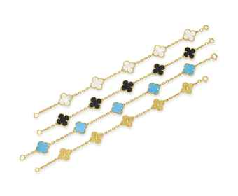 ~A GROUP OF FOUR MULTI-GEM ALHAMBRA BRACELETS, BY VAN CLEEF & ARPELS
