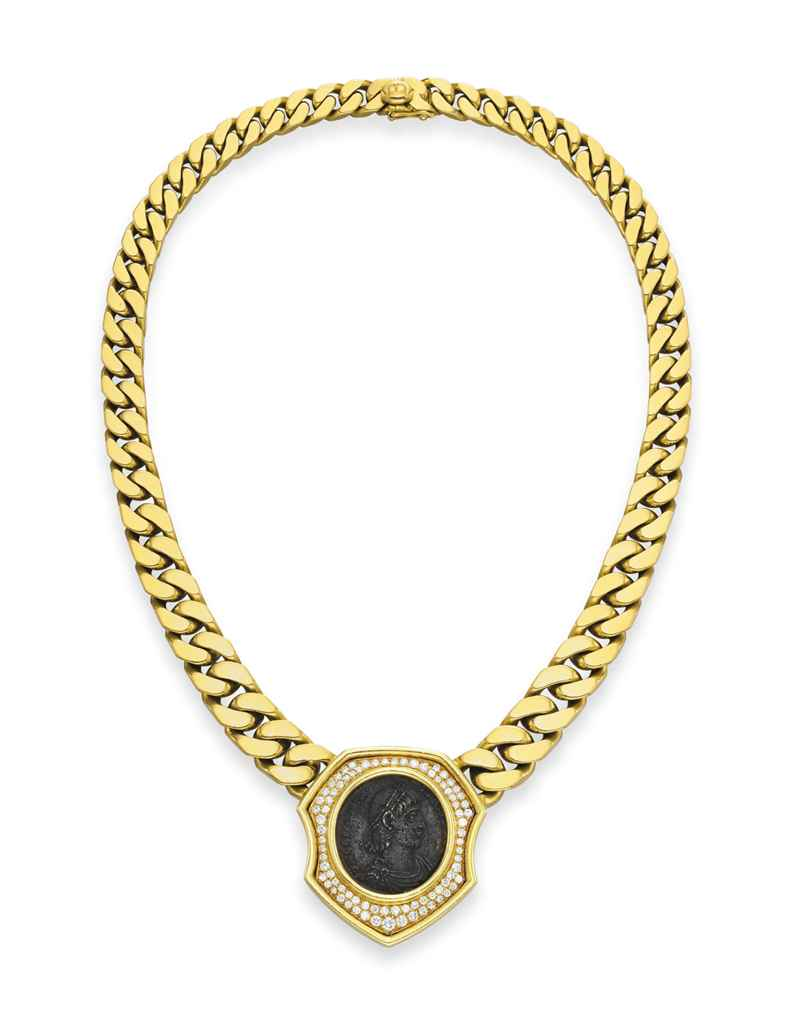 a and gold coin necklace by bvlgari christie s