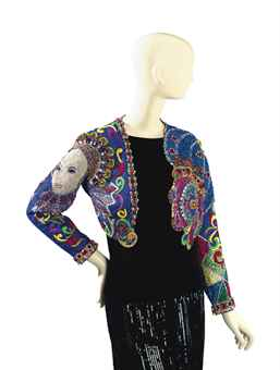 A VERSACE BEADED EVENING BOLERO JACKET, 'QUEEN ELIZABETH'