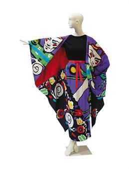 A MICHAEL VOLLBRACHT MULTI-COLORED DYED SILK AND SEQUINNED CAPE AND SKIRT ENSEMBLE