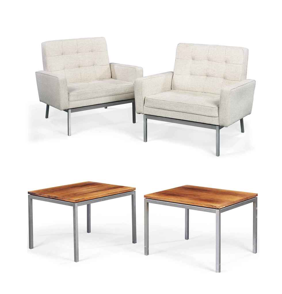 A pair of florence knoll lounge chairs and matching pair for Knoll and associates