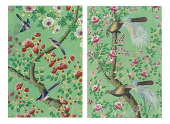 A SET OF CHINESE APPLE GREEN GROUND AND POLYCHROME-PAINTED WALLPAPER