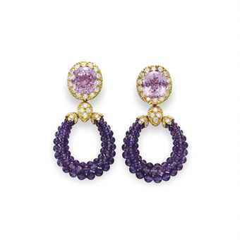 A PAIR OF KUNZITE, AMETHYST AND DIAMOND TRIPHANES EAR PENDANTS, BY VAN CLEEF & ARPELS