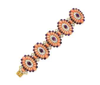 ~A CORAL, AMETHYST AND DIAMOND LAMARTINE BRACELET, BY VAN CLEEF & ARPELS