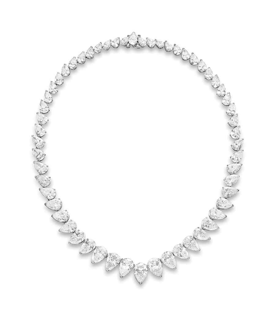 A DIAMOND LINE NECKLACE, BY CA