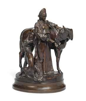 A BRONZE GROUP OF A WOMAN WITH A HORSE AND A BORZOI