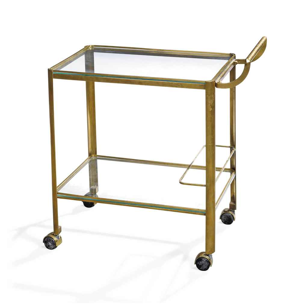A Bronze And Glass Two Tier Drinks Trolley By Jacques Quinet For Maison Malabert Circa 1950