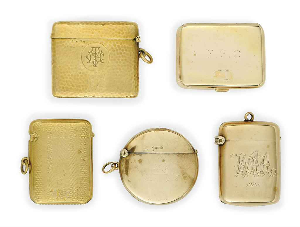 A GROUP OF FIVE GOLD VESTA CAS