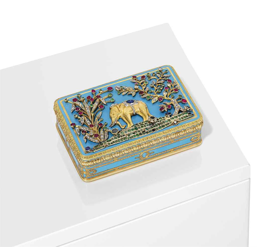A FRENCH JEWELLED AND ENAMELLED GOLD SNUFF-BOX FOR EXPORT TO...