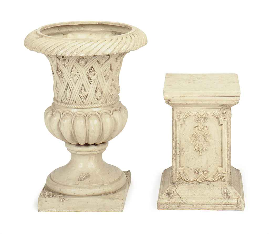 A SET OF THREE FAUX MARBLE COMPOSTITION GARDEN PEDESTALS AND AN