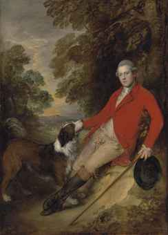 Portrait of Philip Stanhope, 5th Earl of Chesterfield (1755-1815), full-length, in a scarlet coat and buff breeches, holding a black hat and stick in his left hand, with his dog in a landscape