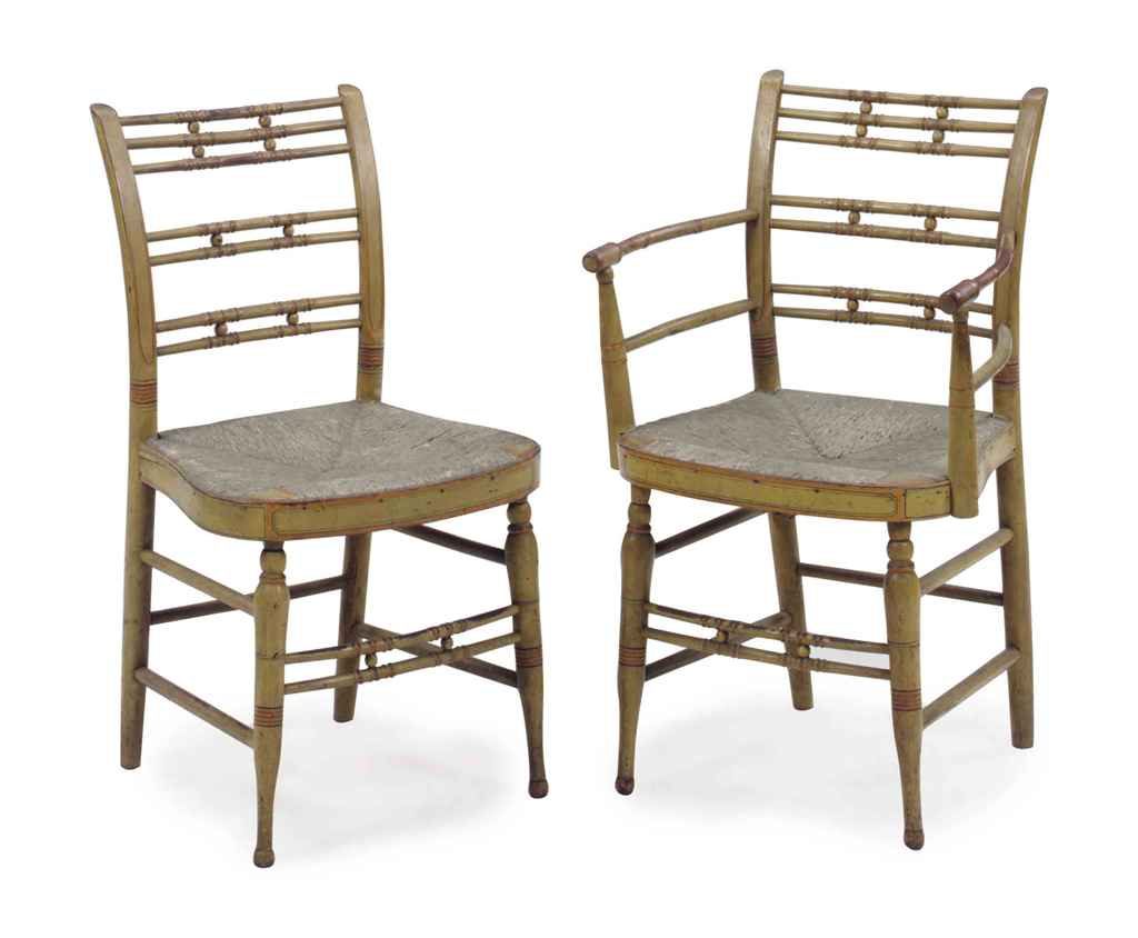 A SET OF EIGHT YELLOW AND ORANGE PAINTED RUSH SEAT DINING CHAIRS 19TH CENT