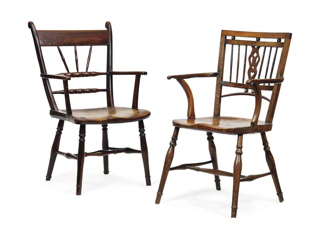 AN ENGLISH YEWWOOD AND ELM OPEN ARMCHAIR AND AN ELM AND BURR-ELM OPEN ARMCHAIR