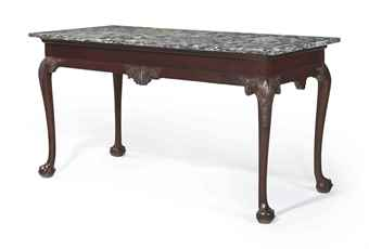 THE CHEW FAMILY CHIPPENDALE CARVED MAHOGANY MARBLE SLAB TABLE