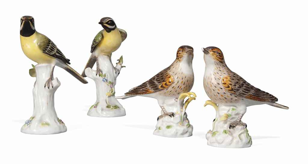 A PAIR OF MEISSEN MODELS OF YELLOW WAGTAILS AND A PAIR OF TH...