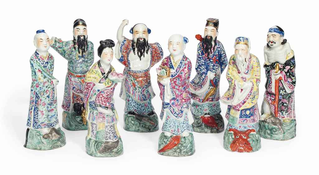 A SET OF CHINESE FAMILLE ROSE MODELS OF THE EIGHT IMMORTALS ...