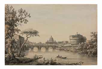A view of the Tiber with Saint Peter's and the Castel Sant'Angelo, Rome in the distance