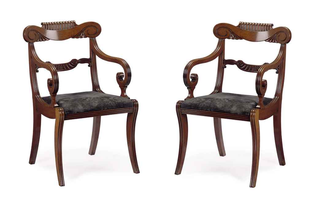 A PAIR OF REGENCY MAHOGANY OPEN ARMCHAIRS