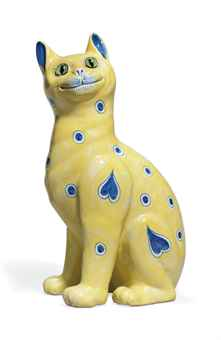 A GALLÉ FAIENCE MODEL OF A CAT